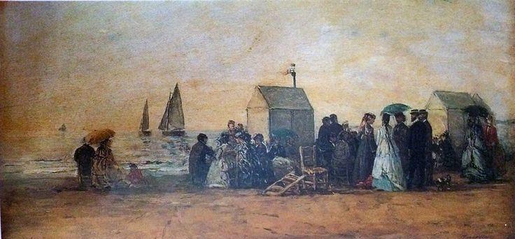 EUGEèNE BOUDIN (1824-1898) SPIAGGIA A TROUVILLE  I cieli eternamente mutevoli e il mare cangiante tipici della costa della Normandia, affascinarono Boudin, che proprio nel gioco della luce sempre in trasformazione, trovò l'interesse primario della sua pittura. #art #oil #canvas #history #Boudin