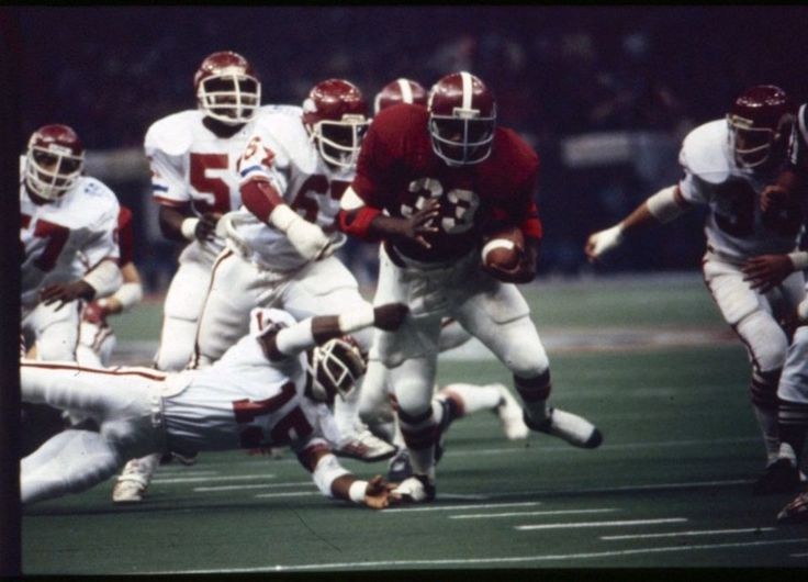 Alabama's Billy Jackson runs with the ball against Arkansas in the Sugar Bowl at the Louisiana Superdome in New Orleans on Jan. 1, 1980. Alabama won the game 24-9. (Birmingham News file)#Alabama #RollTide #Bama #BuiltByBama #RTR #CrimsonTide #RammerJammer