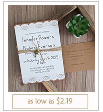 rustic layered laser cut wedding invitations with burlap