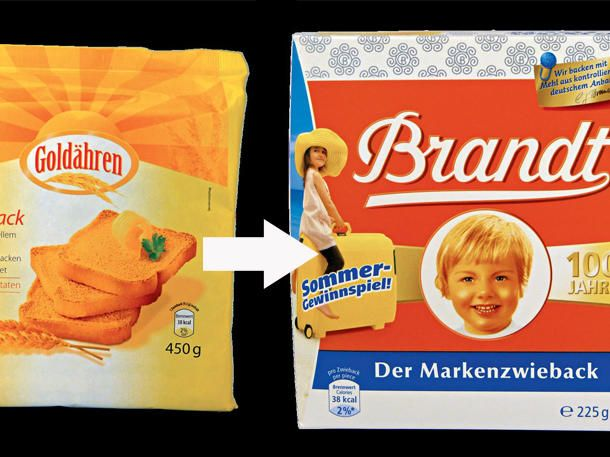 Brandt Zwieback wird bei Aldi als Goldähren Zwieback verkauft