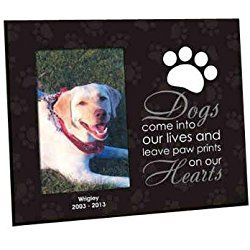 """Personalized """"Leave Paw Prints on our Heart"""" Dog Picture/ Photo Frame, Holds a 3.5"""" x 5"""" or 4"""" x 6"""" Photo"""