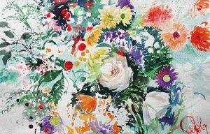 """Пола Райли акварель """"Белая роза и дикие цветы"""" смелые цвета на Saunders Waterford"""