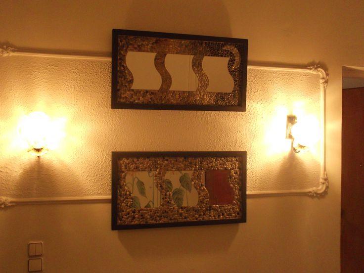 Hamdmade Aegean natural pebbles in a hangable mosaic frame.