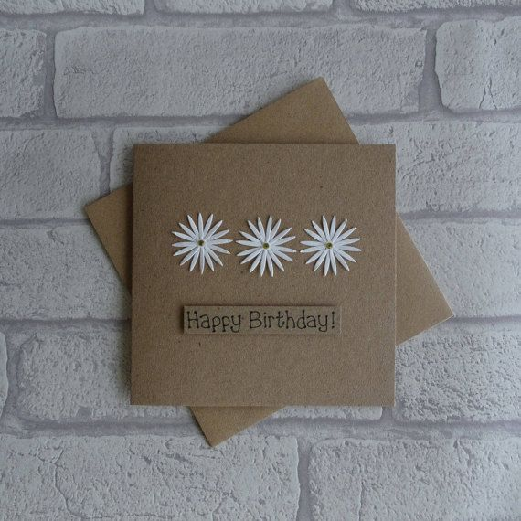 Daisy birthday card Handmade birthday card Floral birthday