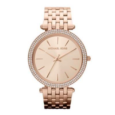 Mid-Size Rose Golden Stainless Steel Darci Three-Hand Glitz Watch - Michael Kors