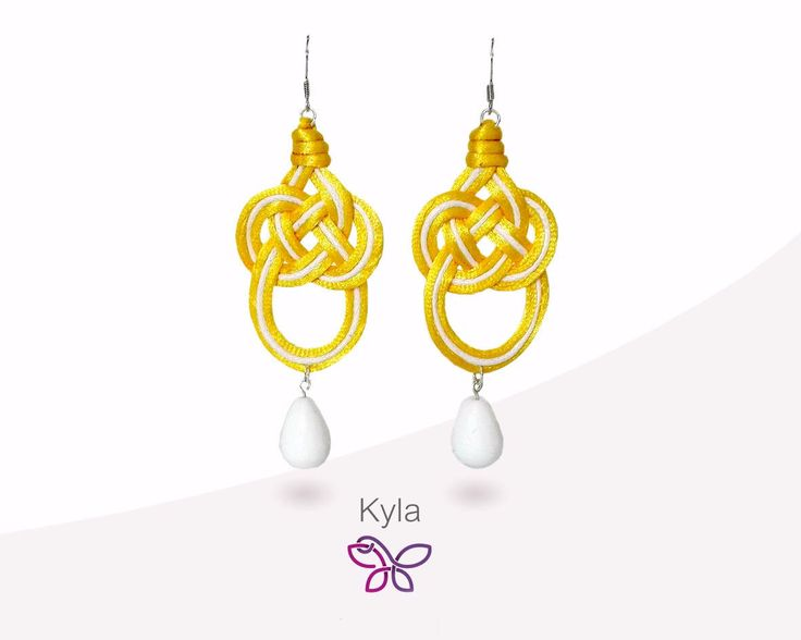 Kyla 8 Earring. Orecchini in tessuto. Celtic knot. Yellow earrings. Orecchini pendenti leggeri. Orecchini moda di FabylaStore su Etsy