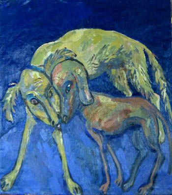Maxim Kantor - Two Dogs (2007), Oil on canvas 135x135cm