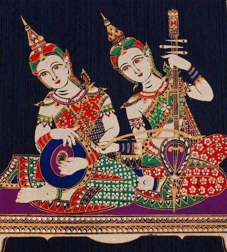 Thai Classical Music Playing Silk Screen Art Picture Handmade Wall Decoration