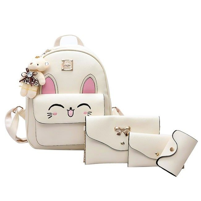 How nice Cartoon Stereo Rabbit Ears Animal School Backpack Cute Girls PU Embroidered Rabbit Face Backpack ! I like it ! I want to get it ASAP! #backpack #bag #college #cat #animal