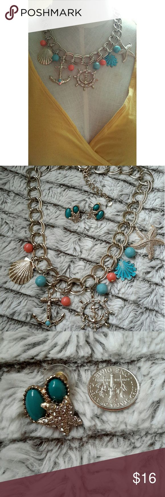 """⚓ Vacation Inspired Link Chain Necklace Earrings ⚓ Gorgeous set!  Questions are welcomed. 8"""" length. Jewelry Necklaces"""