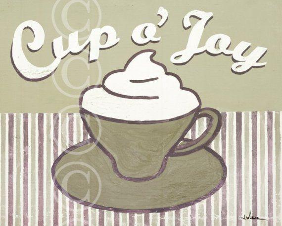 Ha Ha Cup O Me! LOL  Cup o' Joy  coffee cup art print in neutrals by jeannewinters, $21.00