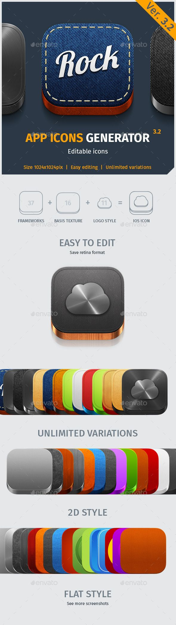 Generator icons for IOS7 and Android applications. #App #Icon #Generator V.3.2 - Software Icons