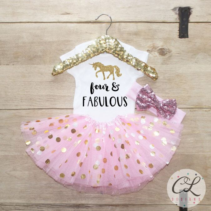 Fourth Birthday Tutu Outfit / Baby Girl Clothes Four and Fabulou Unicorn 4 Year Old Outfit Four Birthday Set 4th Birthday Girl Outfit 168 by CourtneyLeighPrints on Etsy https://www.etsy.com/au/listing/493546392/fourth-birthday-tutu-outfit-baby-girl