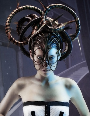 aries inspired..avant garde...............A long brown straight coloured scuptured quirky avant garde hairstyle by seanhanna