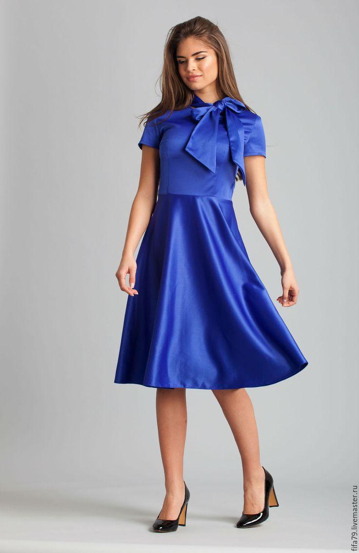Купить Ретро Синее Платье С Воротником Галстуком - однотонный, электрик синий, яркое платье