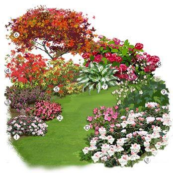 1 Azalée japonaise 2Pieris 3Erable du Japon 4Anémone du Japon 5Hosta à feuilles panachée 6Hortensia 7Rhododendron nain 8Bégonia tubéreux 9Azalée 10Bruyère d'hiver