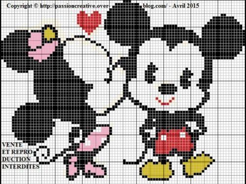 Grille gratuite point de croix : Mickey et Minnie bisou