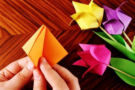 kunterbunte Origami Tulpen