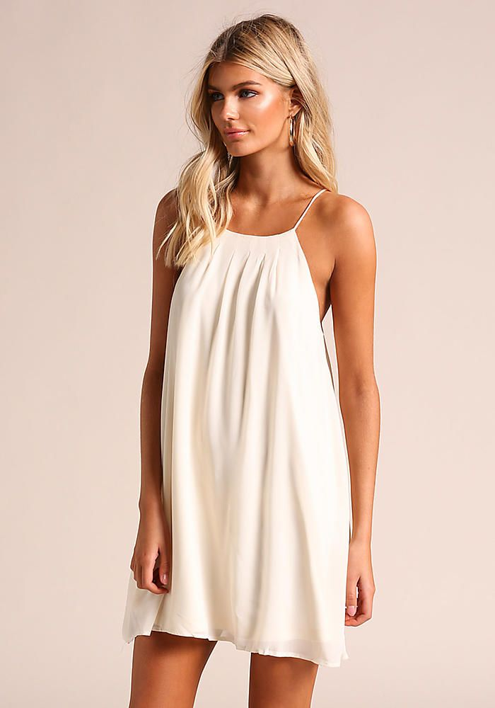 Junior Clothing Cream Chiffon Shift Dress Day Dresses Loveculture
