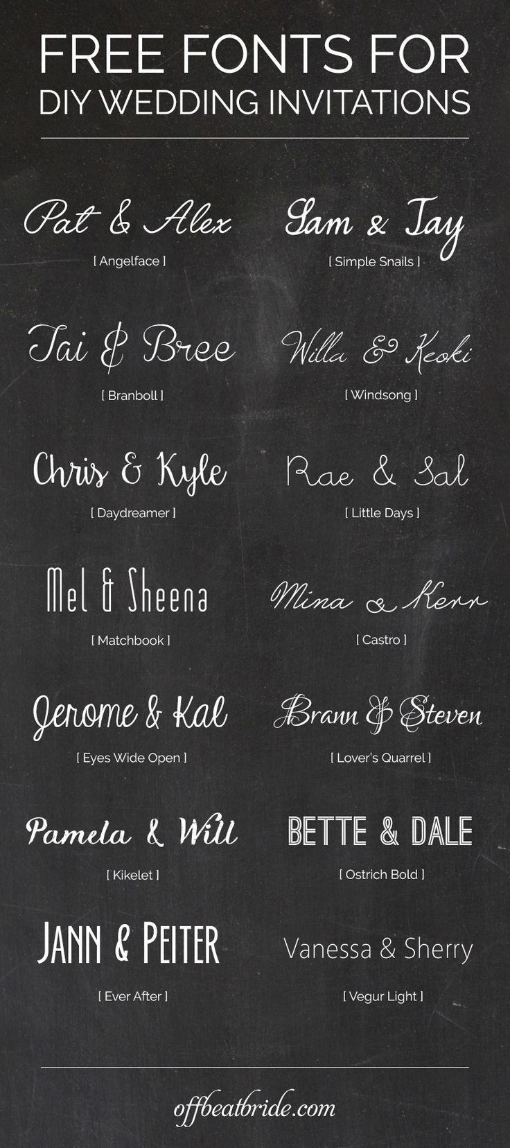 Free wedding invitation fonts for DIY invitations from @offbeatbride