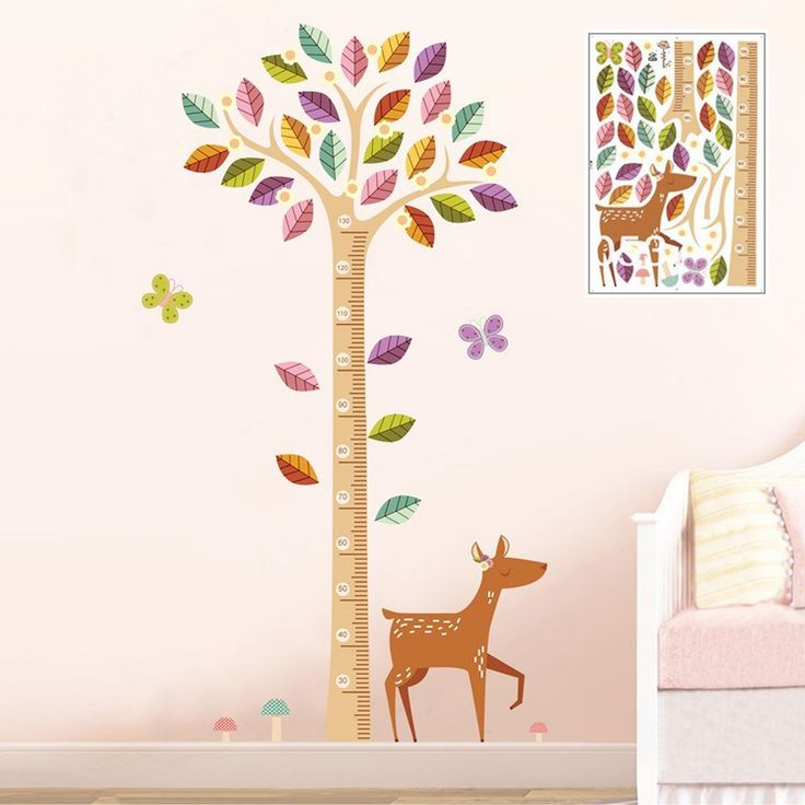 かわいい小鹿さんと身長130cmまでの計れる木にカラフルな葉っぱのウォールステッカー - 彩華-AYABANA-