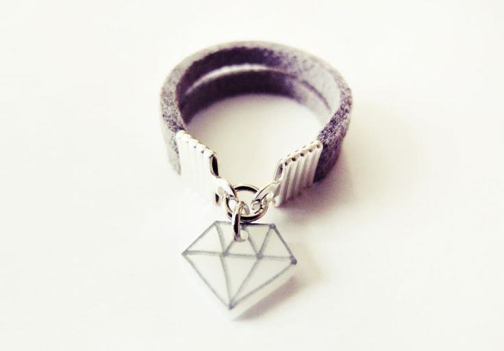 leather ring with shrink plastic charm
