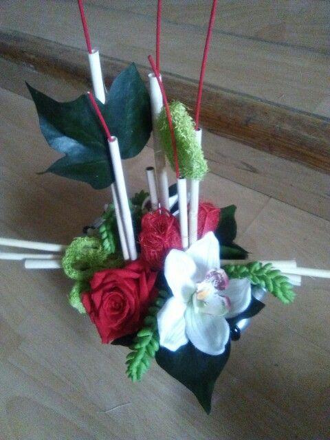 Centro con flor preservada