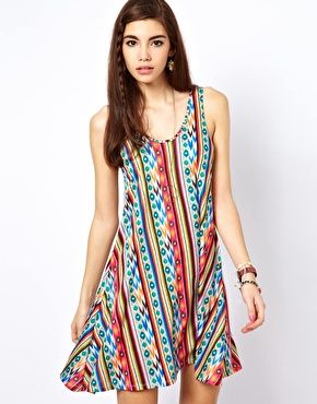 ASOS Swing Sundress In Aztec Stripe
