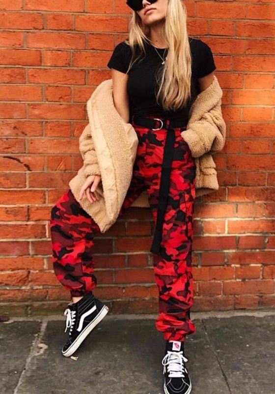 Rot Camouflage Taschen Hohe Taille Lange Beiläufi…