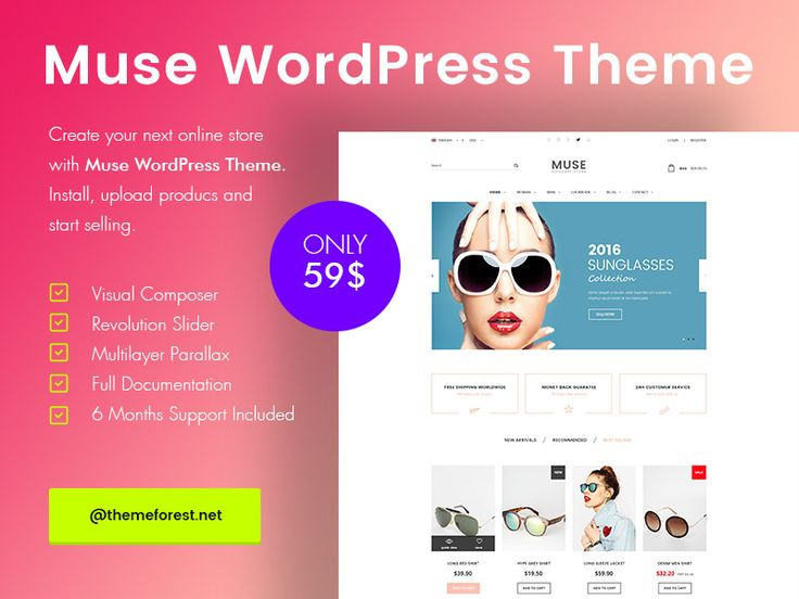 Muse is a modern, clean and professional multi-purpose WordPress WooCommerce theme, It is fully responsive, it looks stunning on all types of screens and devices. It is super for fashion shop, digital shop, accessories shop, food shop, devices shop, household appliances shop or any other categories.