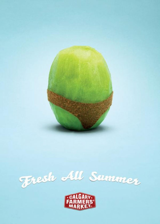 """This advertisement isn't just showing kiwi in a good light, it is giving the farmer's market it is advertising for a wonderful name. It appears to be giving off the message that the fruit provides the ability to """"bare all,"""" almost like it is trying to convince you that you will lose weight from eating anything from the market. http://www.dirjournal.com/shopping-journal/food-advertisements-what-makes-us-buy-it/"""