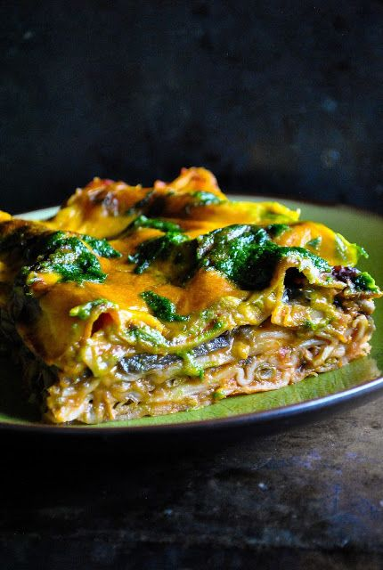 Mindblowingly delicious moussaka lasagne with wild garlic pesto. Luscious and ultra cheesy. A real weekend treat!  http://www.vegansandra.com/2016/05/moussaka-lasagne-with-wild-garlic-pesto.html