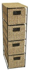 Woodluv Seagrass 4 Drawer Tower Storage Unit- Bedroom/Bathroom/Home/Office(E01-110): Amazon.co.uk: Kitchen & Home