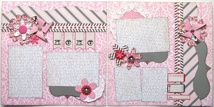 XOXO Premade 2 Page 12x12 Scrapbook Layout by GLOwormpaperdesigns
