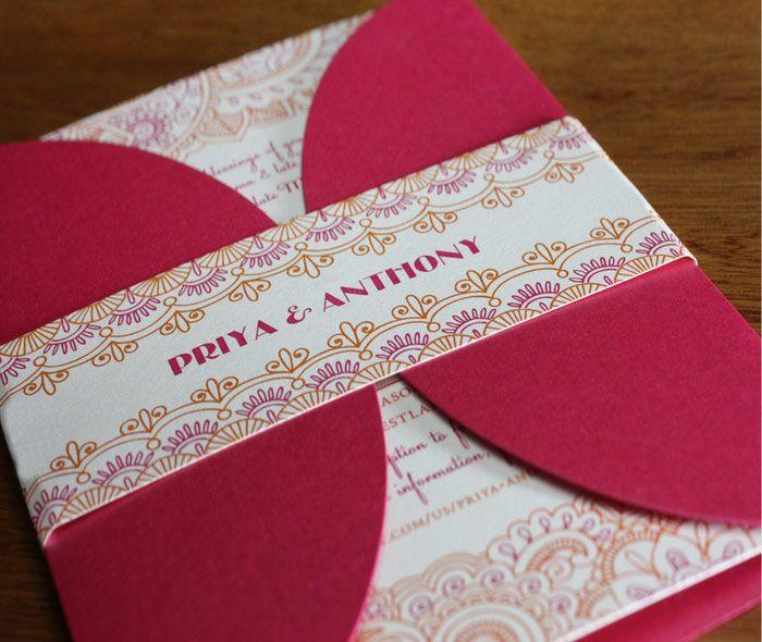 colorful indian mehendi paisley border on bellyband around wedding invitation petal enclosure by  | Invitations by Ajalon | invitationsbyajalon.com
