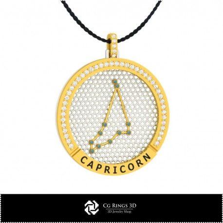 3D CAD Capricorn Zodiac Constellation Pendant