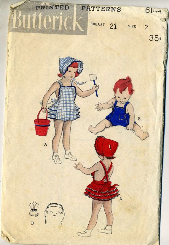 Vintage 1950s Butterick 6144 Toddler Ruffled Romper by RomasMaison