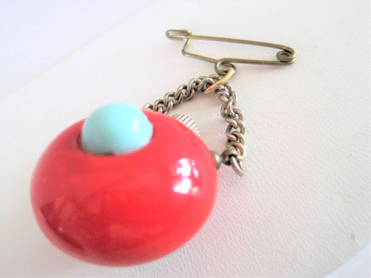 Excited to share the latest addition to my #etsy shop: Bakelite Perfume Bottle Brooch, RARE  Hanging Brooch,  Mid Century Chatelaine, Red Turquoise Pin