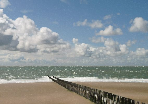 minimalistische stijl strand palen  van groothuizen foto art