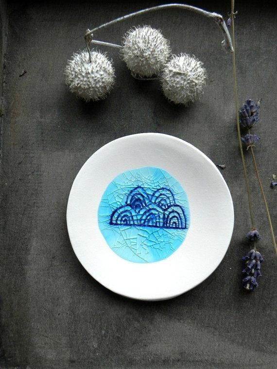 Porcelain Clouds Ring Dish Recycled Blue Glass OOAK by Ceraminic