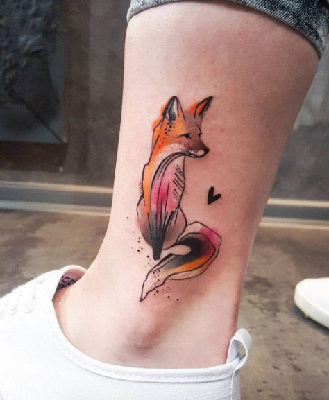 Watercolor fox on ankle by Simona Blanar