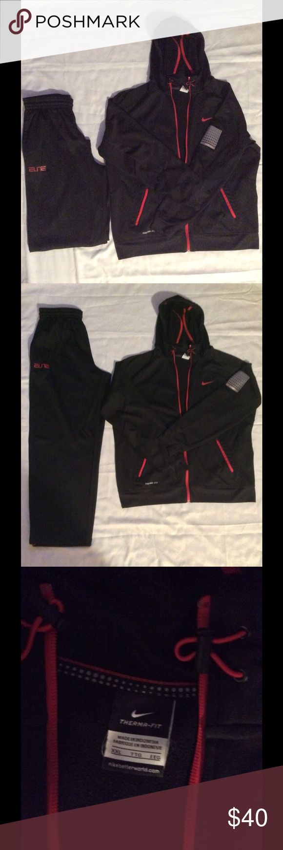 Nike Sweat Suit Nike Black and Red Sweat Suit with hood in excellent used condition. Size XXL Nike Other