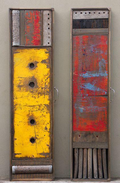 "'GELB y ROSSO' (2012) from the ""obras portatiles"" series by Federico Hurtaldo. Wood, left: 36 x 138 x 5 cm; right: 32 x 138 x 5 cm."