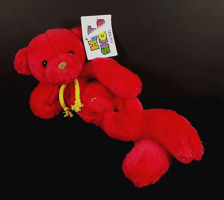 Gund Hot Shots Red Bear 2442 Hang Tush Tags Plush Plastic Pellets #Gund #HotShotsredbear