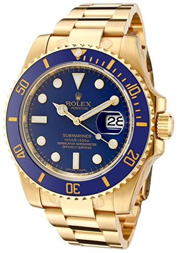 #rolexwatchesformen Rolex Men's Submariner Automatic Blue Dial Oyster 18k Solid Gold Check https://www.carrywatches.com