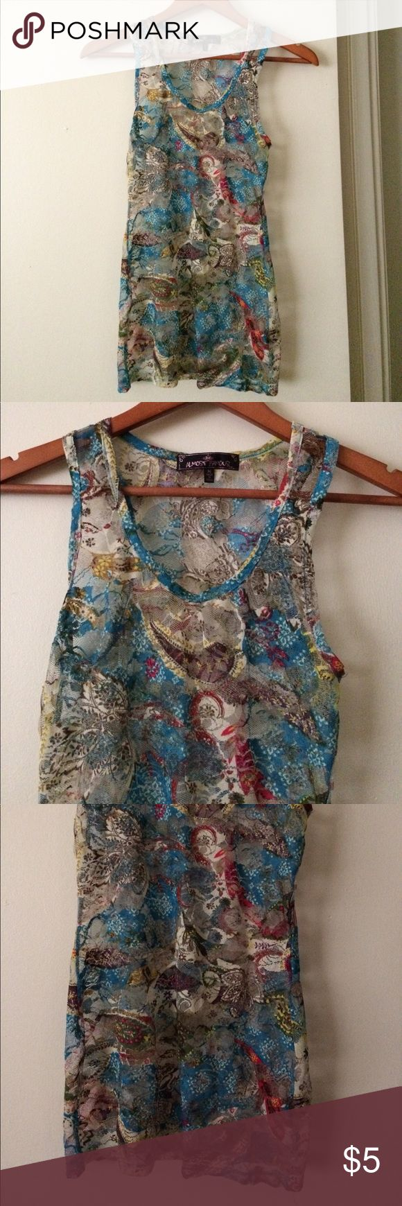 Almost Famous Brand See Through Top Size Medium Almost Famous Brand See Through Tank Top Size Medium! Very cute and great for summer! Almost Famous Tops