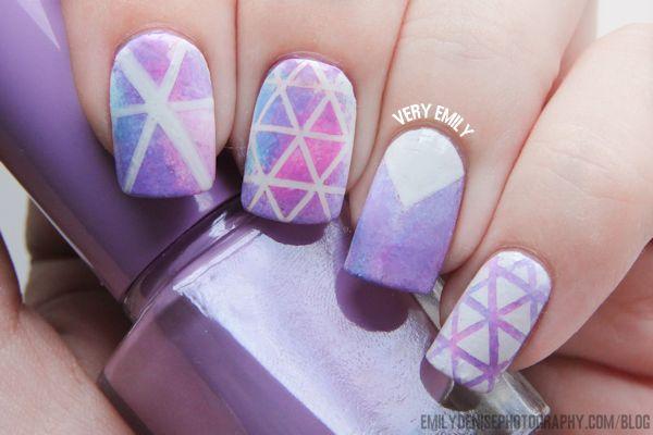 Very Emily Geometric Triangle Nail Art #manicure #nails #nailart Pinned by www.SimpleNailArtTips.com