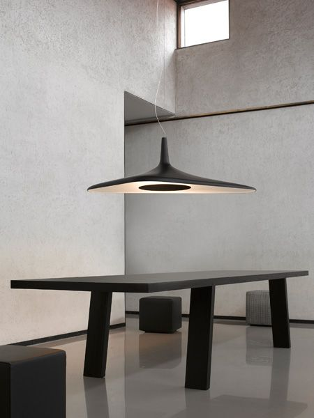 Technological and futuristic, #SoleilNoir by Odile Decq is a #suspension and #ceilinglamp with an organic form in molded polyurethane foam, whose LED light source is hidden inside a disk that generates homogeneous diffused, indirect lighting.  http://www.luceplan.com/Prodotti/1/2/1074/Soleil-Noir