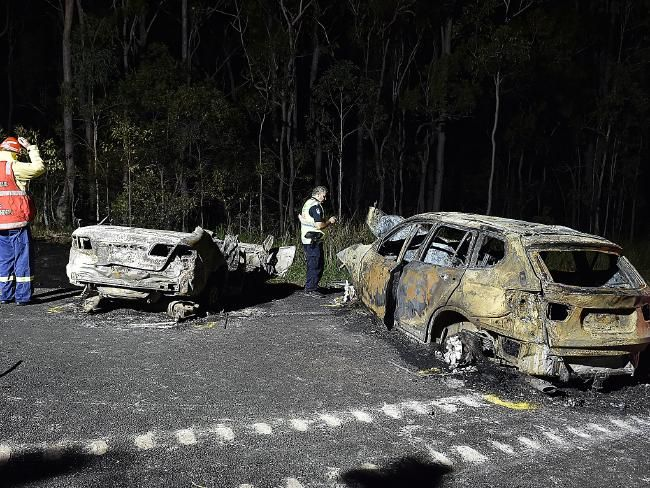 TWO members of a Brisbane family are dead and four other people are in hospital after a crash on the Bruce Highway between Gympie and Maryborough marred the final day of the Easter weekend.