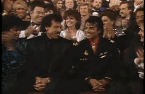 """Michael Jackson and Lionel Richie winning Song Of The Year for """"We Are The World"""" at the 28th #GRAMMYs  in 1986."""